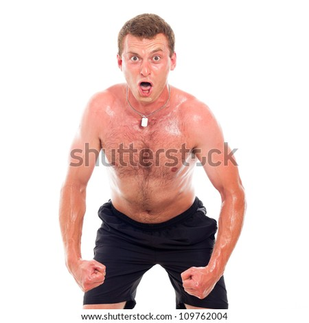 Funny young muscular sports man, isolated on white background. - stock photo
