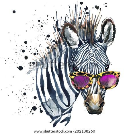 Funny zebra  T-shirt graphics, Funny zebra illustration with splash watercolor textured background. illustration watercolor Funny zebra fashion print, poster for textiles, fashion design - stock photo
