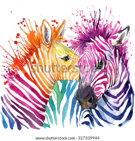 Funny zebra  T-shirt graphics, rainbow zebra illustration with splash watercolor textured background. illustration watercolor Funny zebra fashion print, poster for textiles, fashion design - stock photo