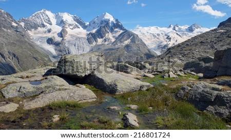 Fuorcla Surlej in summer, August 2014 (Engadin, Graubunden, Switzerland) - stock photo