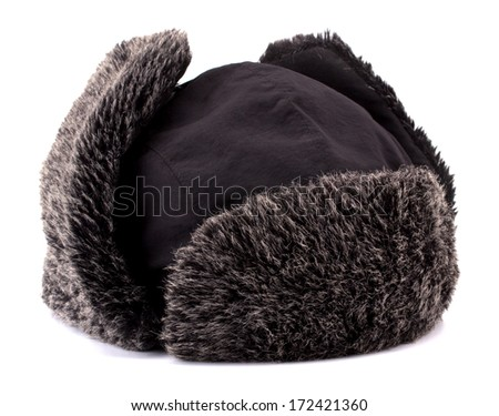 Fur cap for winter isolated on white background - stock photo