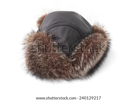 Fur hat. Isolated on white background