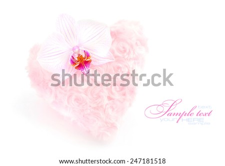 Fur pink heart with a flower orchid on white background