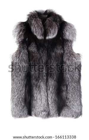 Fur vest isolated on white - stock photo