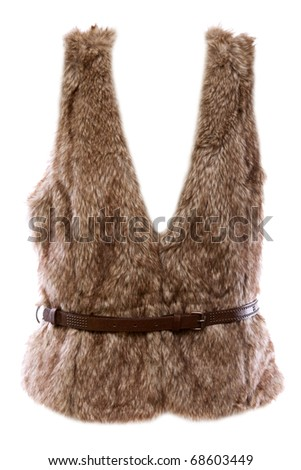 fur vest with a brown belt with a white background - stock photo