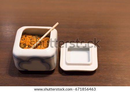 Furikake on wood table.