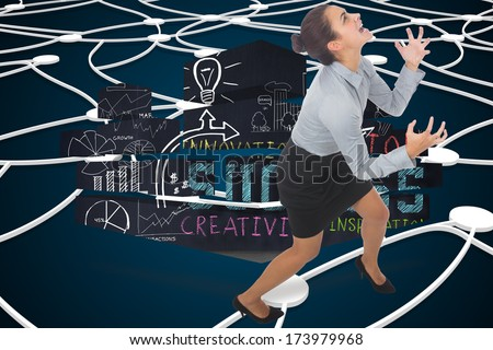 Furious businesswoman gesturing against shiny lines on black background