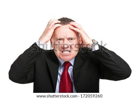 Furious elder businessman portrait - stock photo