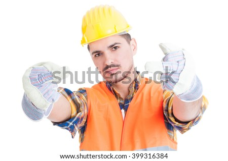 Furious engineer or constructor showing double rude gesture as aggressive attitude concept isolated on white - stock photo