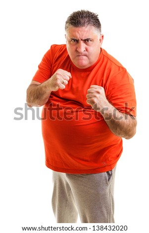 Furious man clenching his fists, ready to fight, against white background - stock photo