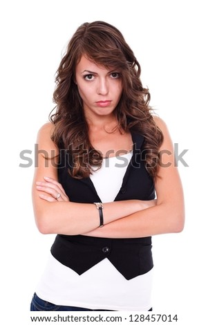 Furious young woman over white background - stock photo