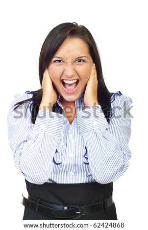 Furious young woman screaming and holding hands on her face isolated on white background