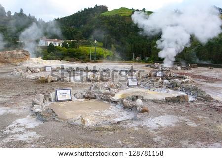Furnas fumaroles in San Miguel (Sao Miguel) island, Azores - stock photo