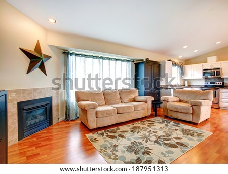 furnished living room with fireplace hardwood floor and rug furnished with couch and love