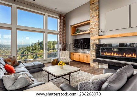 Furnished living Room with view on sunny afternoon - stock photo