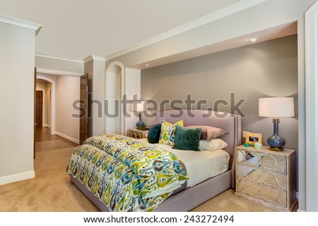 Furnished Master Bedroom in New home - stock photo