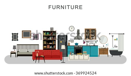 Furniture and home decoration with flat icons sofa, bookshelf, kitchen, etc. Raster version. - stock photo