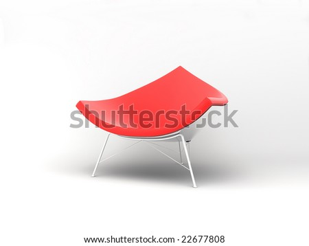 Furniture: armchair in red lather