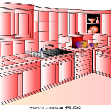 Furniture for interior of the kitchens of the rose color.