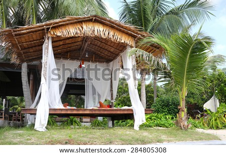 furniture for rest.a gazebo on the beach  - stock photo