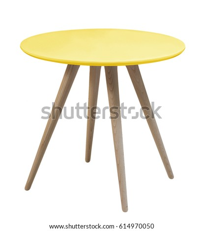 Furniture From 50 60 Years Of The Last Century.Yellow Round Table With  Wooden