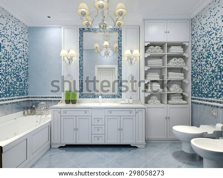 blue bathroom mirror bathroom decoration stock images royalty free images 12125