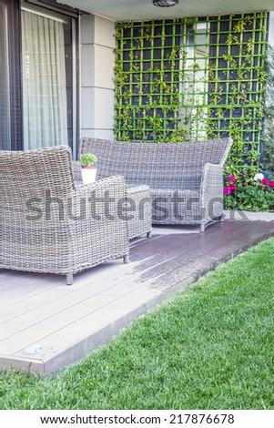 furniture on balcony - stock photo