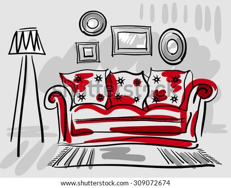 Furniture set for living room with a red couch, floor lamp, carpet and photo frames. Vector hand illustration. - stock photo