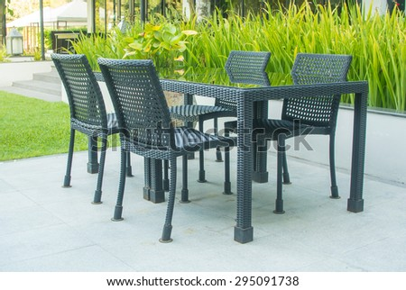 Furniture set in a garden. Plastic Garden Furniture Stock Images  Royalty Free Images