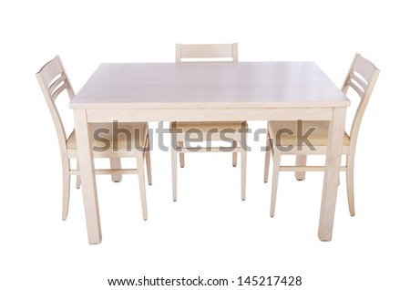 Furniture set with table and chair - stock photo