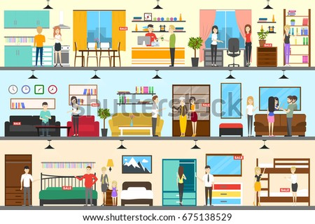 Furniture Store Interior Stock Illustration 675138529