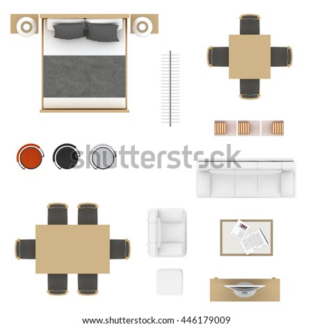 Furniture Top View Collection Bed Table Stock Illustration