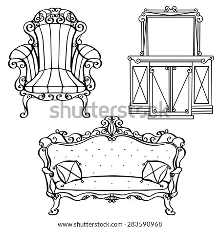 Furniture Vintage Armchair, Sofa, Console Table, Mirror With Frame, Cabinet  With Drawers
