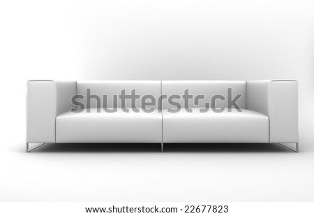 Furniture: white lather sofa - stock photo