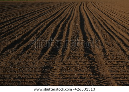 furrows in a field agriculture, soil