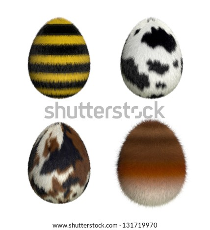 Furry easter eggs : bee, cow, pony, fox (3D render) - stock photo
