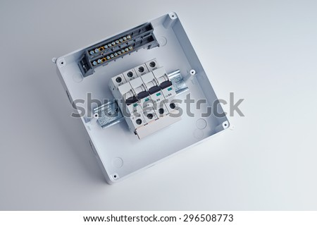 home fuse box stock photos royalty images vectors fusebox small open electrical cabinet four automatic fuses ready for wiring and installing