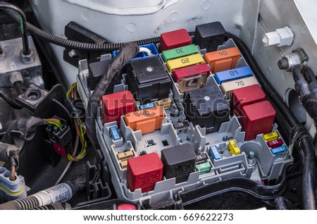 stock photo fuses box of a car 669622273 box fuse detail stock images, royalty free images & vectors box of fuses unturned at bakdesigns.co