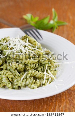 Fusilli with freshly made pesto genovese and grated parmesan
