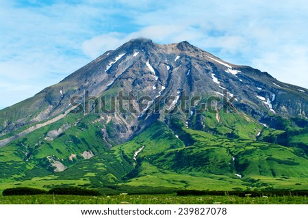 Fuss Peak Volcano at Paramushir Island, Kuril Islands, Russia - stock photo