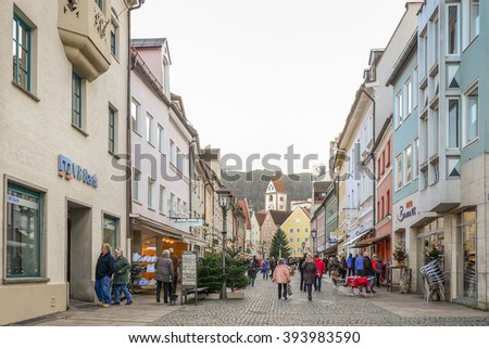 FUSSEN - DECEMBER 5, 2015. Cityscape of Fussen in afternoon in early winter, Germany. - stock photo