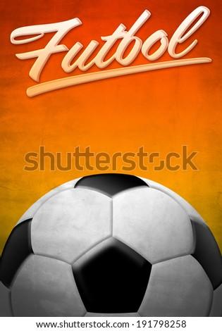 Futbol - Soccer - Football spanish text - background texture  - stock photo