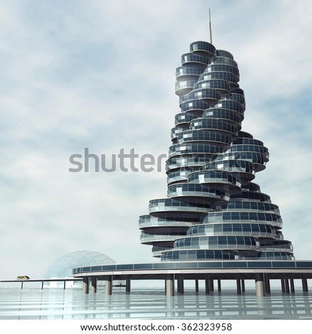 Future architecture. Modern building on the artificial island on water. Fantastic project