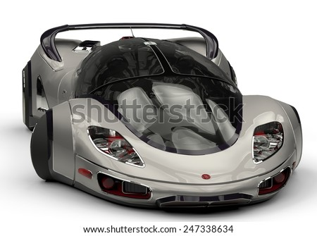 future car silver frontal view - stock photo