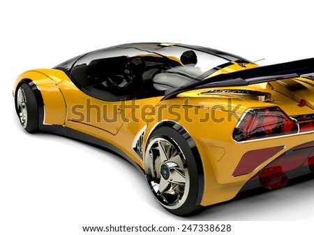 future car yellow bsck side view 2 - stock photo