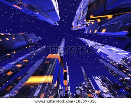Future city concept - stock photo