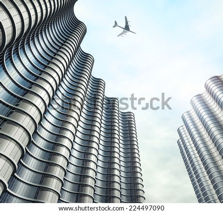 Future city. Modern building. 3d illustration - stock photo