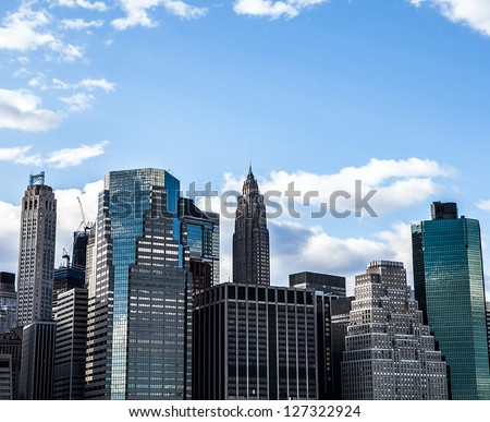 Future city - new york skyline - stock photo