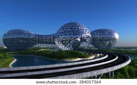 Future City on the coast - stock photo