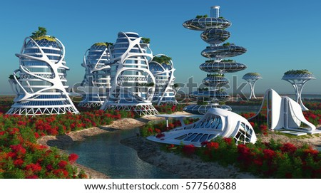 Future City on the coast.3d render